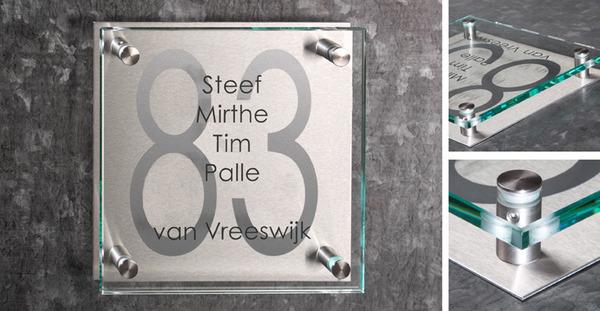 Magnifiek Glazen naamborden, voor uw woning of bedrijf | De Naamborden Site #ZY46