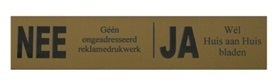 Nee-Ja sticker messing-look bord voor brievenbus